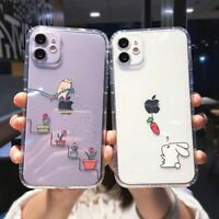 Creative Cartoon Phone Case Cute Rabbit Cat Animal Cover For iPhone 12 11 8 X XS