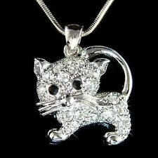 w Swarovski Crystal ~KITTY CAT KITTEN Pet Charm Pendant Chain Necklace meow Cute