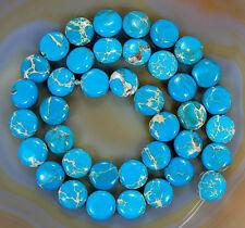 "10mm DodgerBlue Sea Sediment Jasper Coin Beads 15.5"""