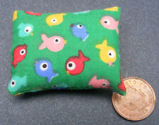 1:12 Scale Green Cotton Cushion With A Fish Motif Tumdee Dolls House Miniature