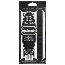 Quartet Alphacolor Char-Kole Square Black Soft Pastels (Pack of 12)