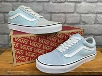 VANS LADIES UK 6 EUR 39 OLD SKOOL WHITE BLUE CANVAS SUEDE TRAINERS T