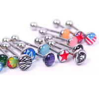 Hot 6Pcs/Set Tongue Bar Ring Barbell Titanium Body Piercing Jewelry Random