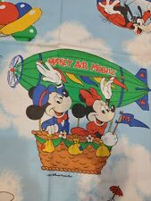 VTG Walt Disney Mickey Mouse Air Mobile Twin Flat Sheet Dumbo Donald 65X90