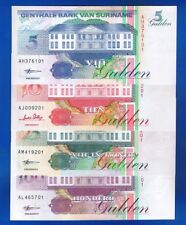 SURINAME - 4 x BANKNOTEN - 5 10 25 100 Gulden P-136 137 138 139 UNCIRCULATED SET