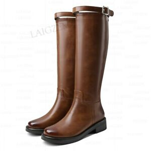 Women Knee High Boots Round Toe Low Block Heels Boots Comfortable Shoes Woman