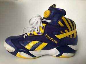 REEBOK PUMPS Shaq Attaq Retro LSU Mens USA 10 Purple Yellow White M40343