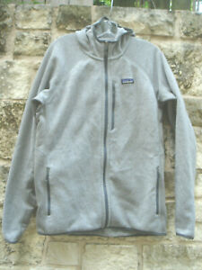 PATAGONIA Women's Hooded Zip Front Jacket L Gray 100% Polyester Pockets EUC