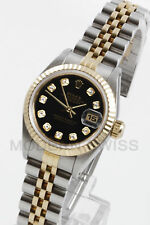 Rolex Ladies Datejust Gold & Steel Black Diamond Fluted Jubilee 2 Tone Perpetual