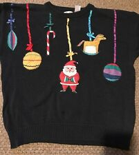 VINTAGE VERY UGLY CHRISTMAS SWEATER WIN THE OFFICE PRIZE HAND MADE WOMEN L SANTA