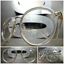 CLASSIC VINTAGE RETRO Style Clear Lens EYE GLASSES Small Transparent Gold Frame