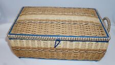 Dritz wicker sewing basket. Turquoise. vintage.  120 + items inside, also vintag