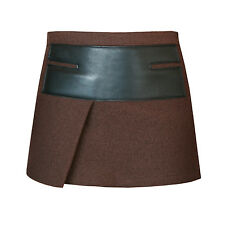 NEIL BARRETT $590 dark brown boiled wool leather panel micro mini skirt 40/4 NEW