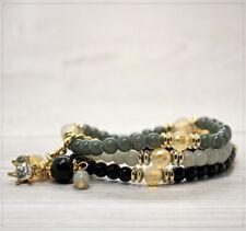 Damen Armband Damenschmuck dehnbar Perlen Glasperlen Acrylperlen Grau Schwarz