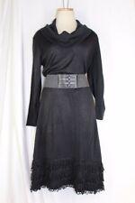 NEW DIRECTIONS $110 Sweater Dress XL Black 3/4 Sleeve Cowl Neck Fringe Hem Belt