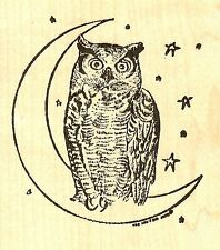 Crescent Moon With Owl Wood Mounted Rubber Stamp NORTHWOODS M6722 New