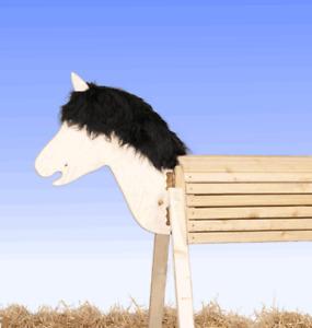 Holzpferd Voltigierpferd 100 cm ohne Lasur, Kopf beweglich - Lärche