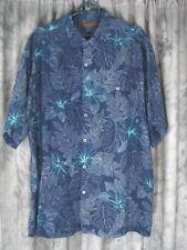 TORI RICHARD Hawaiian Shirt 2XL 100% Silk Copyrighted Design Blue Floral Aloha