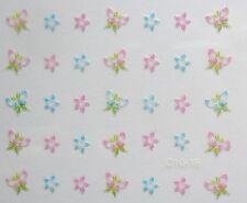 Accessoire ongles nail art Stickers autocollants fleurs et papillons multicolore