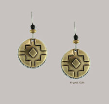 Earth Dreams SOUTHWEST Circle EARRINGS Surgical Steel Antiqued Bronze - Gift Box