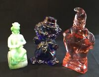 Mosser Art Glass Clown Cobalt Carnival, Green Slag And Pink Assortment
