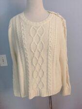 NWT Madewell Et Sezane Marin Cable Sweater Ivory Large L cream ivory merino wool