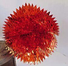 Set of 2 Vtg Shiny Brite Red Christmas Ornaments Hanging Foil Paper Burst