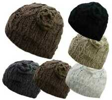 Ladies Beanie Hat Chunky Cable Knit With Crochet Flower Warm Winter Knitted Cap