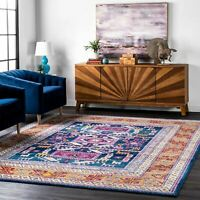 nuLOOM Bohemian Southwestern Tribal Area Rug in Navy Blue and Pink