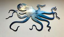 "Ocean Octopus Blue Tinged Metal Decor   13"" x 8"""