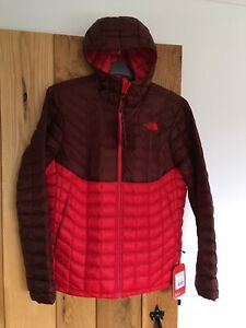 Mens North Face Thermoball Hoodie Jacket Coat Red Large L
