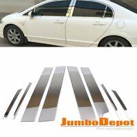 8Pcs Stainless Steel Chrome Window Door Pillar Post Trim Fit Honda Civic 06-11
