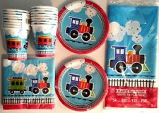 ALL ABOARD Choo Choo Train Birthday Party Supply Set Pack Kit for 16