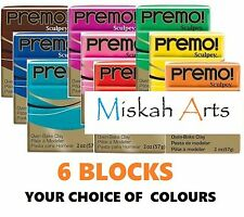 Sculpey PREMO -  Polymer Clay - 57g  - 6 BLOCKS - YOUR CHOICE OF COLOURS