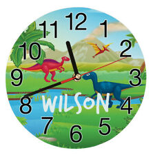 Personalised Children's Dinosaur 1 Toughened Glass Wall Clock, Any Name, Bedroom