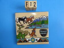 "Ceramic Art Tile 6""x6"" Southwest desert animals cacti coyote horse trivet F12"