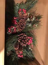 "HOMCO Home Interiors 24"" set of 2 Pine cones, Berries And Swag Greenery"