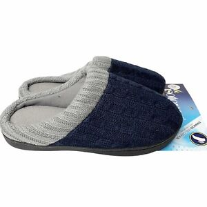 Isotoner Navy Blue Knit Clogs XL 9.5-10 Gray Trim Slippers Comfort Cushioned NEW