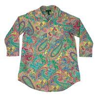 Lauren by Ralph Lauren Button Up Shirt Men's Size M Paisley Hippie Long Sleeve