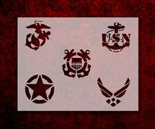 "Military Army Air Force Navy Marines Coast Guard 11 x 8.5"" Stencil (140)"