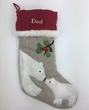 Pottery Barn Kids Christmas Stocking Bears Dad Quilted
