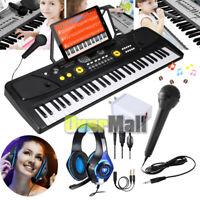 61-Key Electronic Keyboard Portable Digital Music Piano with USB, Mic, & Headset