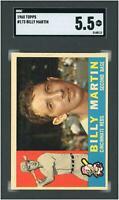 Billy Martin Cincinnati Reds 1960 Topps # 173 SGC 5.5 Card Topps