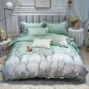 Luxury Green Embroidered Egyptian Cotton Bedding Set Duvet Cover Cases Pillow