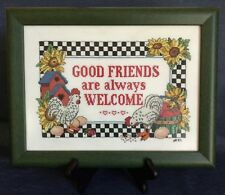 """GOOD FRIENDS are always WELCOME"" ~ Cross Stitched ~ Framed in Green ~12¾"" x 9½"""