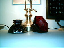 Avon Ruby Red Cranberry Glass Candle Holders Medal 00004000 Lion Design Elegant