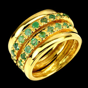 Unheated Round Emerald 2mm 14K Yellow Gold Plate 925 Sterling Silver Ring 6.5