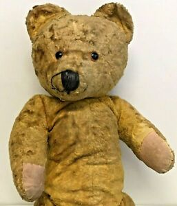 """Antique / Early Jointed Golden Yellow Teddy Bear  19"""" (48cm) Tall"""