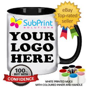 Printed Bulk LOGO Coffee Mugs Colour Inside & Handle Branded Personalised Mug