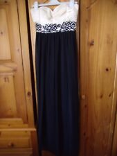 New Look Black/Champagne Rhinestone Encrusted Strapless Evening Gown UK 14/EU 42